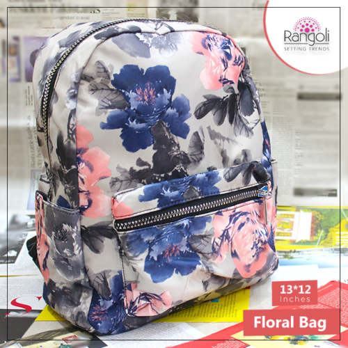 Floral Backpack Grey