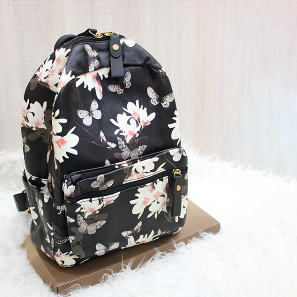 Floral Backpack Black