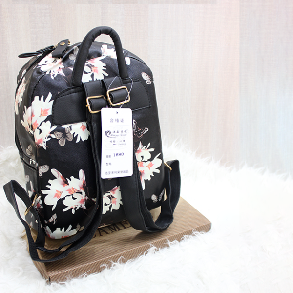 Floral Backpack Black back